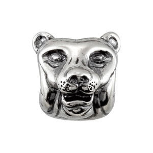 Sterling Silver 11.85x11.5mm Tiger Slider Bead