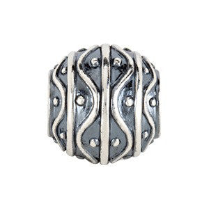 Sterling Silver 12.25x11.5mm Round Deco Spacer Bead