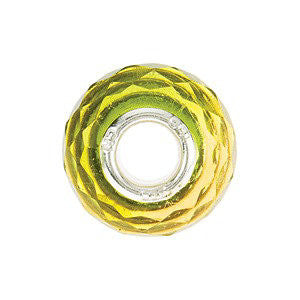 Sterling Silver 15x10mm Green & Yellow Faceted Glass Bead