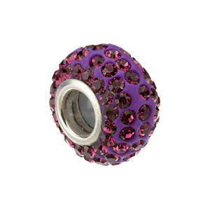 Sterling Silver Kera® Roundel Bead with Pavé Purple Crystals