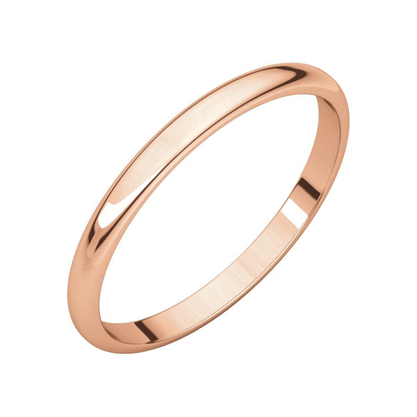 10k Rose Gold 2mm Half Round Light Band, Size 7
