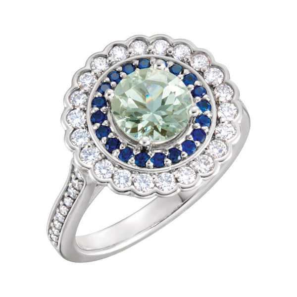 Platinum Green Quartz, Blue Sapphire & 1/2 CTW Diamond Engagement Ring, Size 7