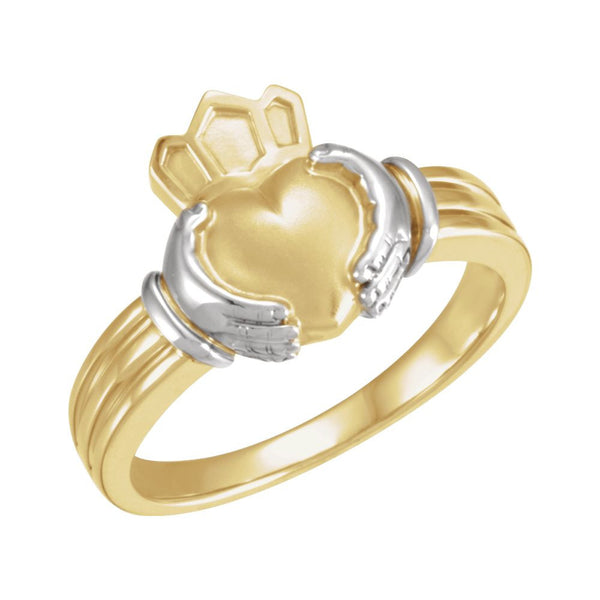 14K Yellow & White Gent's Claddagh Ring, Size 11