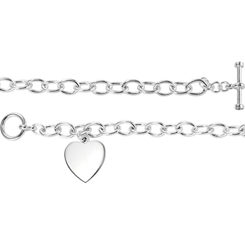 Sterling Silver Cable Toggle Bracelet 7mm with Heart Charm