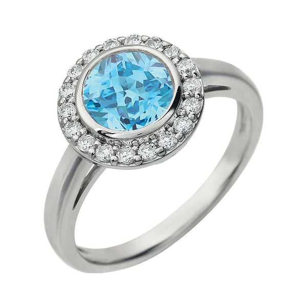 Sterling Silver Light Blue Cubic Zirconia Ring, Size 7