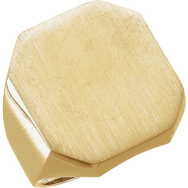 14k Yellow Gold 20x22mm Men's Signet Ring , Size 10