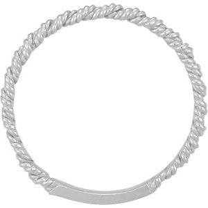 Platinum 2mm Twisted Rope Band, Size 7