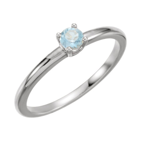 "Sterling Silver Imitation Blue Zircon ""December"" Kid's Birthstone Ring, Size 3"