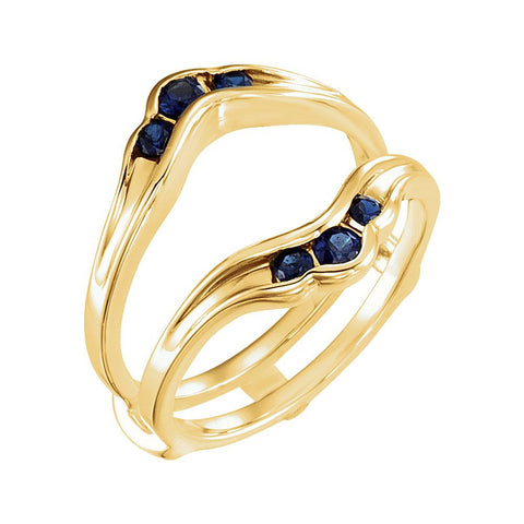 14k Yellow Gold Genuine Sapphire Solitaire Enhancer, Size 7