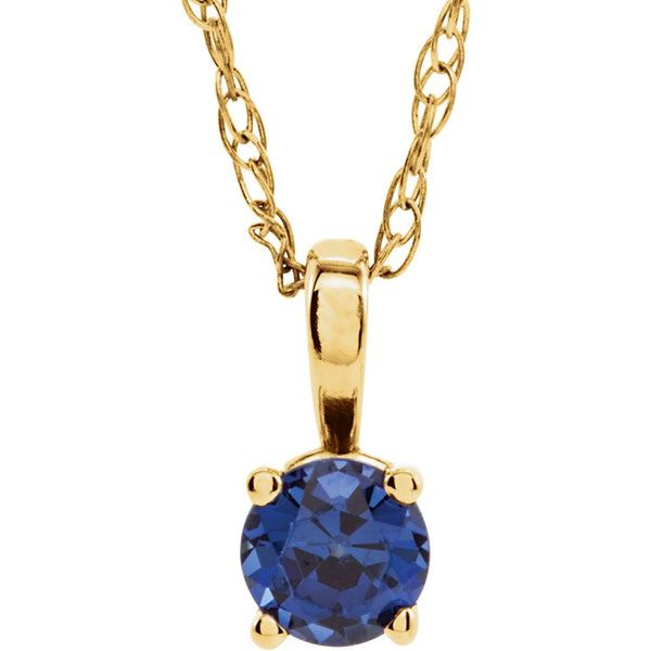 14k Yellow Gold Chatham® Created Blue Sapphire