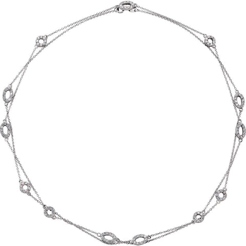 Sterling Silver CZ Necklace ( 36.00-Inch )