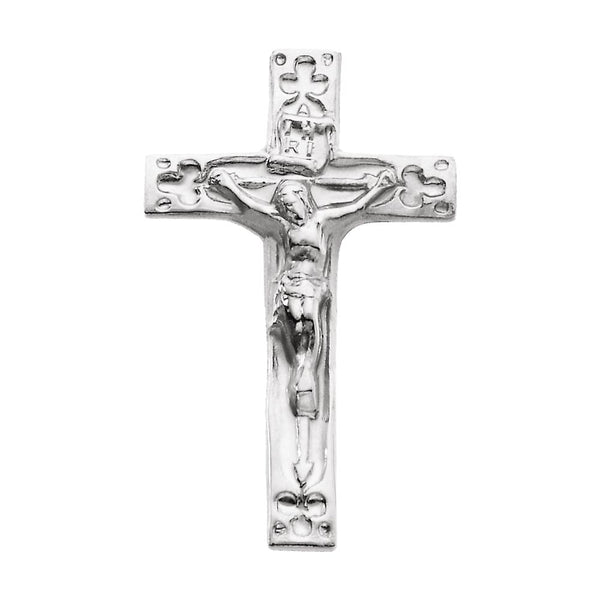 14k White Gold Crucifix Lapel Pin