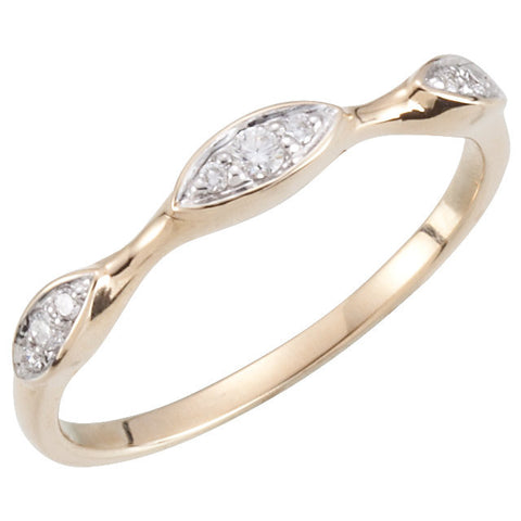 14k Yellow Gold Stackable Diamond Ring, Size 7