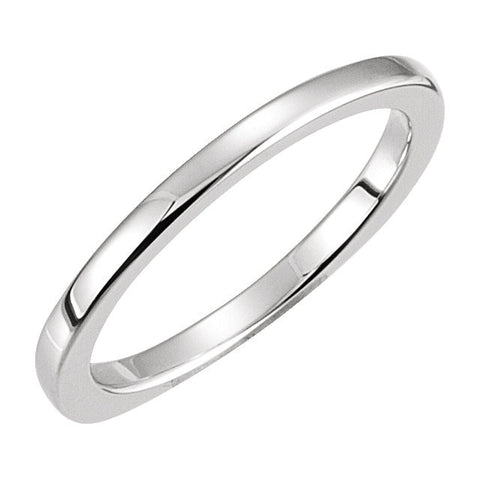 14k White Gold Euro Shank Band, Size 7