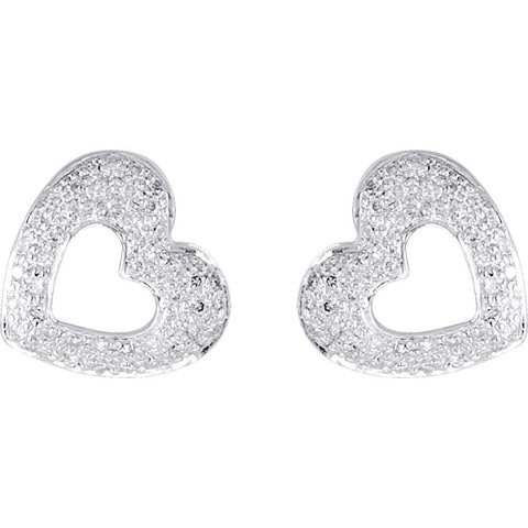 14k White Gold 1/4 CTW Diamond Heart Earrings