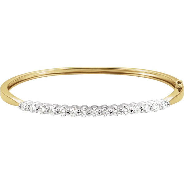 14k White/Yellow Gold Diamond Bangle Bracelet
