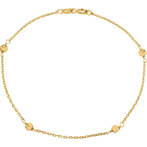 "14K Yellow Gold Bead 6"" Youth Bracelet"