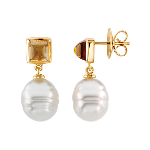 Elegant and Stylish Pair of 06.00 MM and 12.00 MM South Sea Cultured Pearl & Genuine Citrine Earrings in 14K White Gold, 100% Satisfaction Guaranteed.
