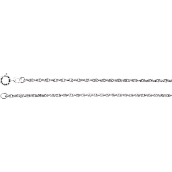 "14k White Gold 1.5mm Rope 18"" Chain"