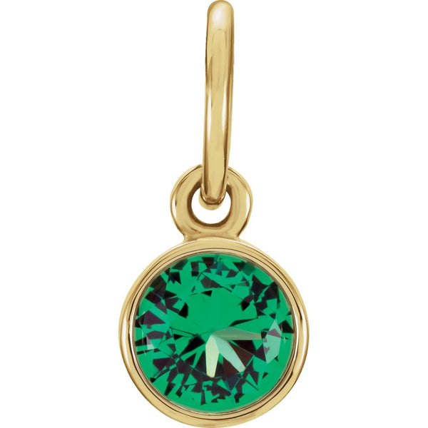 14k Yellow Gold Imitation Emerald Birthstone Charm
