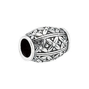 Sterling Silver 12.35x9.3mm Floral-Inspired Slider Bead