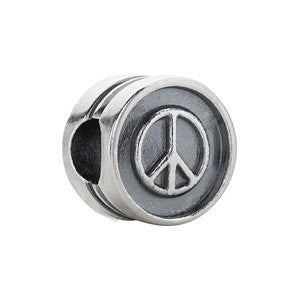 Sterling Silver 10.5x7mm Peace Sign Cylinder Bead