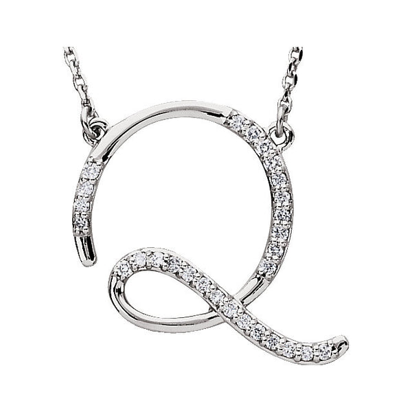 "Sterling Silver Letter ""Q"" 1/8 CTW Diamond Initial 16"" Necklace"