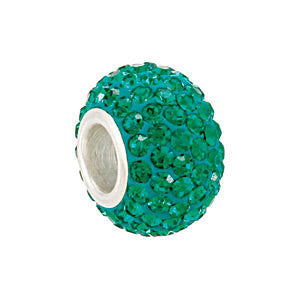 Sterling Silver 12x8mm Emerald-Colored Crystal Pavé Bead