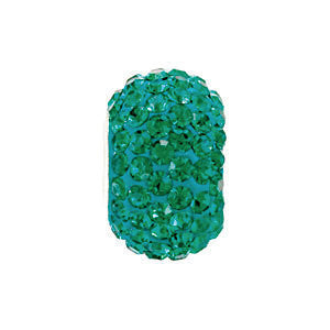 Kera Emerald-Colored Crystal Pave' Bead with May Birthstone in Sterling Silver