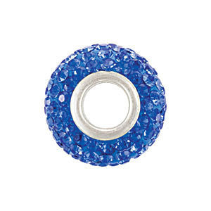 Sterling Silver 12x8mm Sapphire-Colored Crystal Pavé Bead