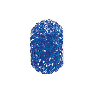 Kera Sapphire-Colored Crystal Pave' Bead with September Birthstone in Sterling Silver