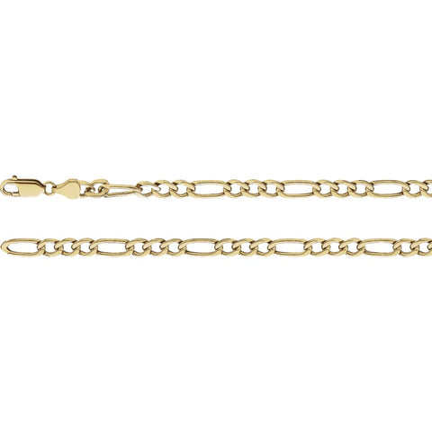Hollow Figaro Chain in 14k Yellow Gold ( 18 Inch )