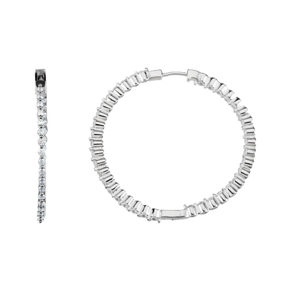 Sterling Silver 38mm Cubic Zirconia Hoop Earrings