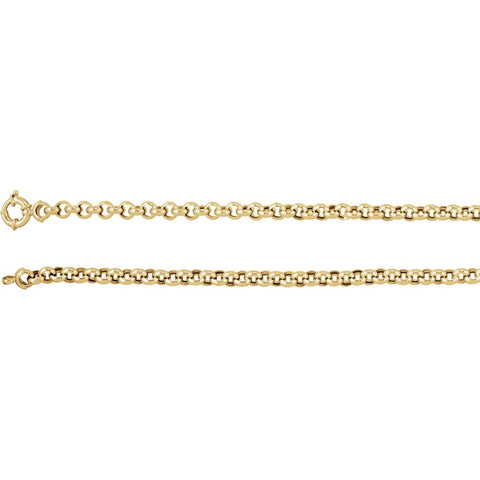 6.5 mm Hollow Rolo Chain in 14k Yellow Gold ( 16-Inch )