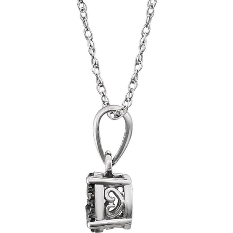 "14k White Gold 1/5 CTW Black Diamond 18"" Necklace"