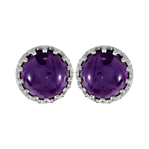 Sterling Silver 8mm Round Amethyst Earrings