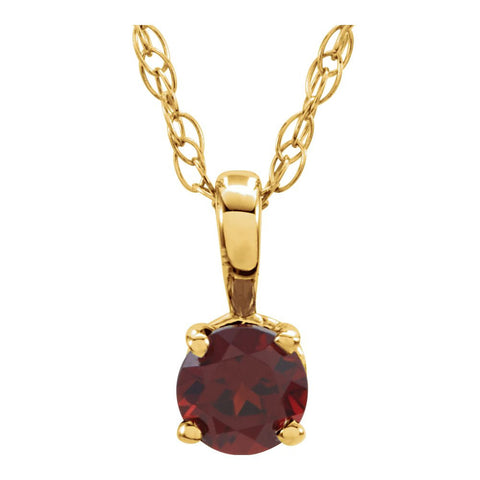 "14k Yellow Gold Imitation Garnet ""January"" Birthstone 14-inch Necklace for Kids"