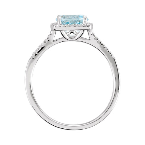 Sterling Silver Sky Blue Topaz & .01 CTW Diamond Ring, Size 8