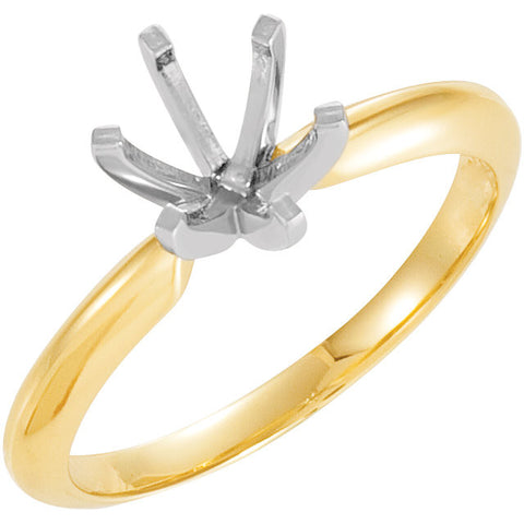 14k Yellow Gold & Platinum 6-6.6mm Round 6-Prong Heavy Solitaire Ring Mounting, Size 6