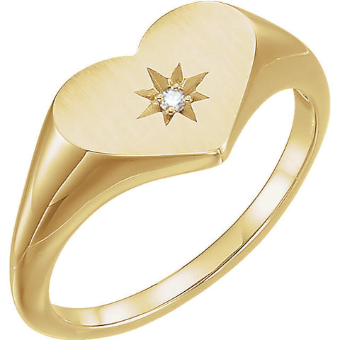14k Yellow Gold 0.01 ctw. Diamond Heart Signet Ring, Size 7