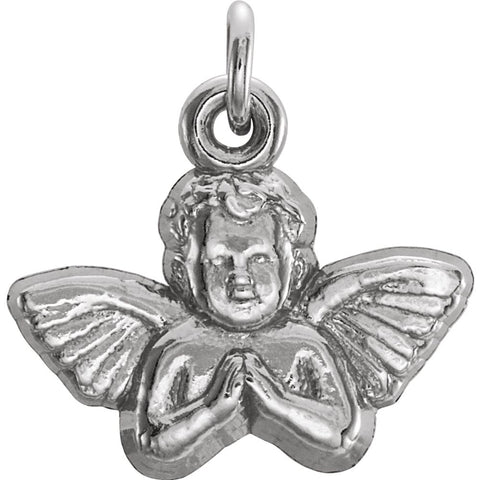 Sterling Silver 11x12mm Angel Baby Pendant