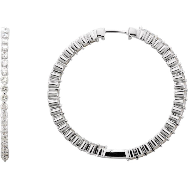 14k White Gold 2 CTW Diamond Inside/Outside Hoop Earrings