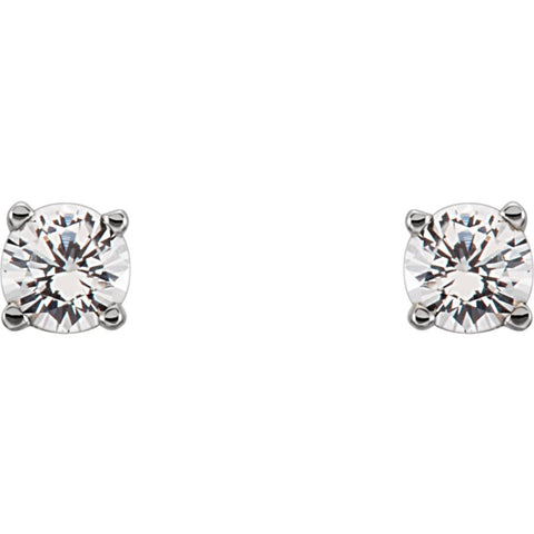 Sterling Silver Imitation Diamond Youth Earrings