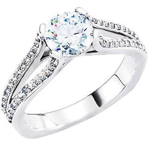Continuum Sterling Silver Cubic Zirconia & 1/4 CTW Diamond Engagement Ring , Size 7