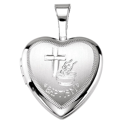 Baptism Heart Locket in Sterling Silver