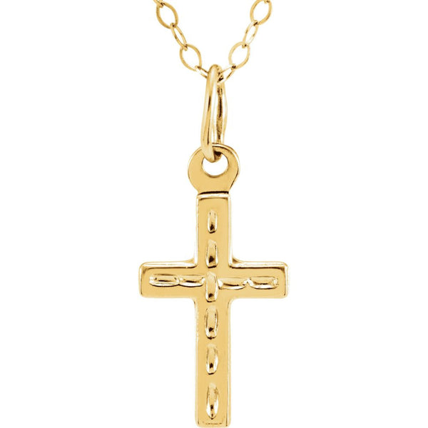 "14k Yellow Gold Cross 15"" Youth Cross Necklace & Packaging"