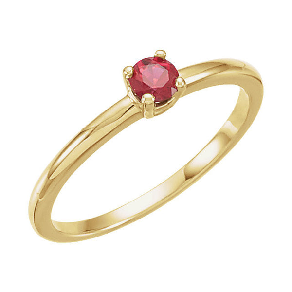 "14k Yellow Gold Chatham® Lab-Grown Ruby ""July"" Birthstone Ring, Size 3"
