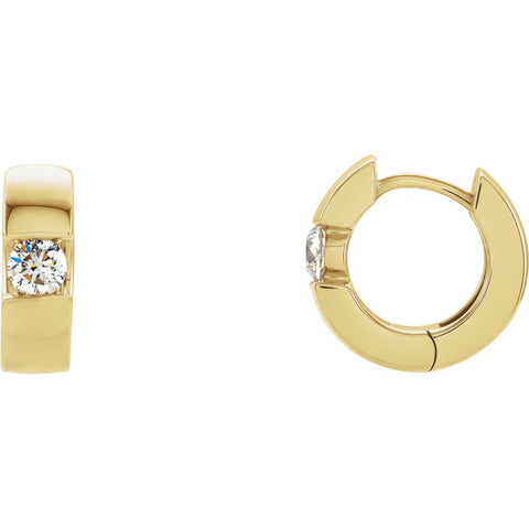 14K Yellow Gold 1/2 CTW Diamond Hinged Earrings