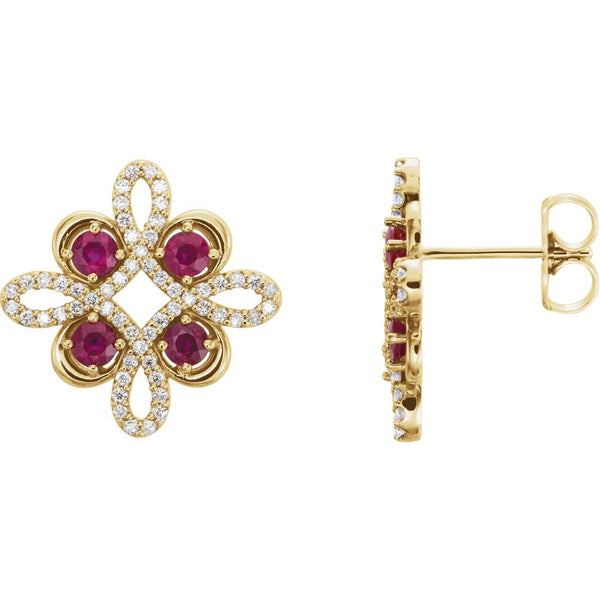 14k Yellow Gold Ruby & 1/4 CTW Diamond Earrings