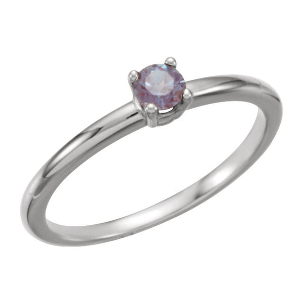 "14k White Gold Chatham® Created Alexandrite ""June"" Birthstone Ring	, Size 3"